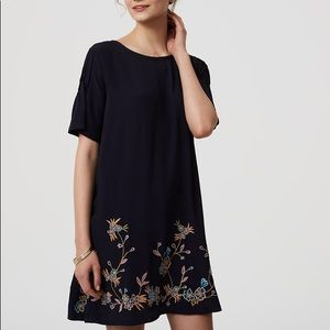 Loft embroidered navy dress